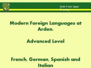 Sixth Form Open Evening Modern Foreign Languages at
