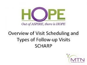 Overview of Visit Scheduling and Types of Followup