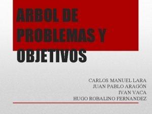 ARBOL DE PROBLEMAS Y OBJETIVOS CARLOS MANUEL LARA