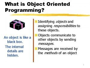 What is Object Oriented Programming z Identifying objects