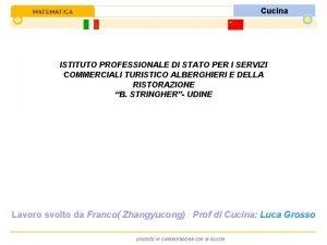 Cucina ISTITUTO PROFESSIONALE DI STATO PER I SERVIZI