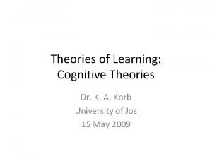 Theories of Learning Cognitive Theories Dr K A