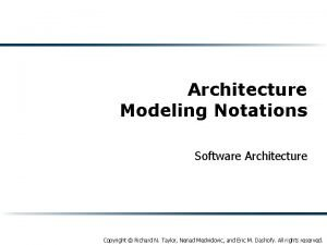 Architecture Modeling Notations Software Architecture Copyright Richard N