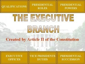 QUALIFICATIONS PRESIDENTIAL ROLES PRESIDENTIAL POWERS Created by Article