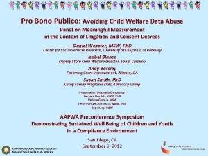 Pro Bono Publico Avoiding Child Welfare Data Abuse
