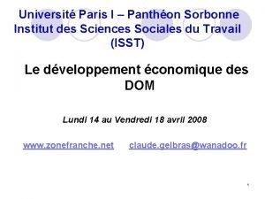 Universit Paris I Panthon Sorbonne Institut des Sciences
