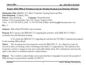 March 2001 doc IEEE 802 15 01162 r