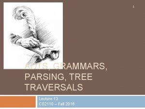 1 ADTS GRAMMARS PARSING TREE TRAVERSALS Lecture 13