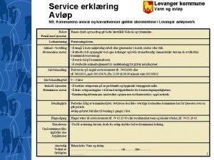 Service erklring Avlp Levanger kommune Vann og avlp
