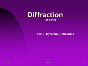 Diffraction T Ishikawa Part 2 Dynamical Diffraction 2252021