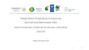 Dilogo PblicoPrivado de las Contribuciones Nacionalmente Determinadas CND
