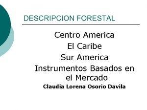 DESCRIPCION FORESTAL Centro America El Caribe Sur America