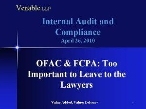 Venable LLP Internal Audit and Compliance April 26