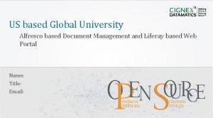US based Global University Alfresco based Document Management
