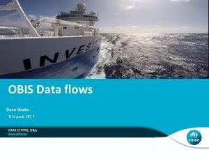 OBIS Data flows Dave Watts 8 March 2017