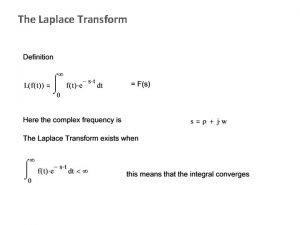 The Laplace Transform The Laplace Transform table Transfer