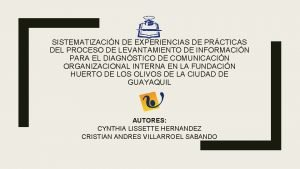 SISTEMATIZACIN DE EXPERIENCIAS DE PRCTICAS DEL PROCESO DE