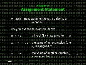 Chapter 4 Assignment Statement An assignment statement gives