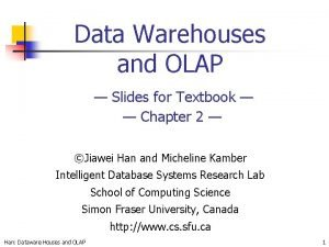 Data Warehouses and OLAP Slides for Textbook Chapter