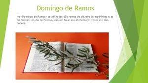 Domingo de Ramos No Domingo de Ramos os