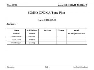 May 2020 doc IEEE 802 11 200666 r