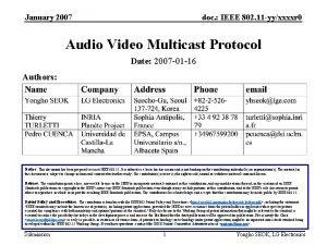 January 2007 doc IEEE 802 11 yyxxxxr 0