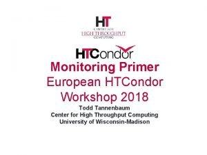 Monitoring Primer European HTCondor Workshop 2018 Todd Tannenbaum