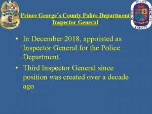 Prince Georges County Police Department Inspector General In