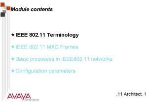 Module contents IEEE 802 11 Terminology IEEE 802