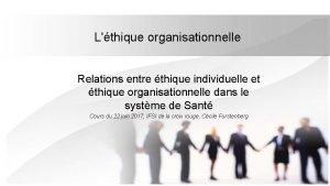 Lthique organisationnelle Relations entre thique individuelle et thique