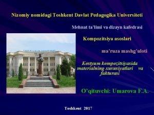Nizomiy nomidagi Toshkent Davlat Pedagogika Universiteti Mehnat talimi