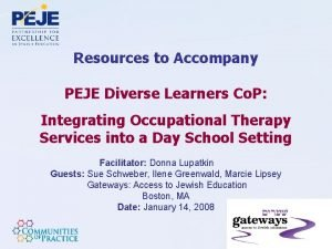 Resources to Accompany PEJE Diverse Learners Co P