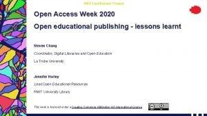 RMIT Classification Trusted Open Access Week 2020 Open