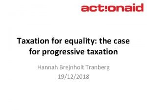 Taxation for equality the case for progressive taxation