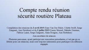 Compte rendu runion scurit routire Plateau Compilation des