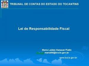 TRIBUNAL DE CONTAS DO ESTADO DO TOCANTINS Lei