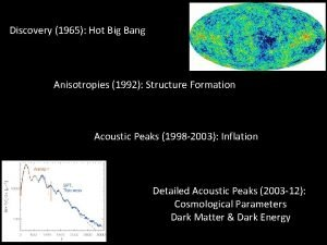 Discovery 1965 Hot Big Bang Anisotropies 1992 Structure