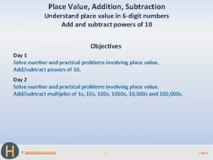 Place Value Addition Subtraction Understand place value in
