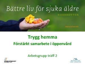 Trygg hemma Frstrkt samarbete i ppenvrd Arbetsgrupp trff