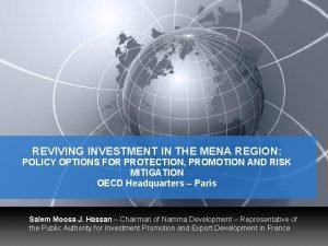 REVIVING INVESTMENT IN THE MENA REGION POLICY OPTIONS