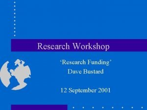 Research Workshop Research Funding Dave Bustard 12 September