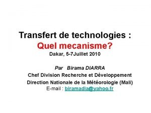 Transfert de technologies Quel mecanisme Dakar 5 7