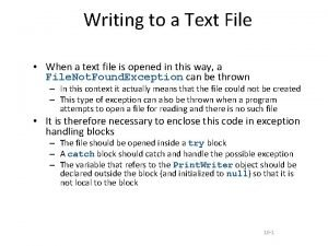 Writing to a Text File When a text
