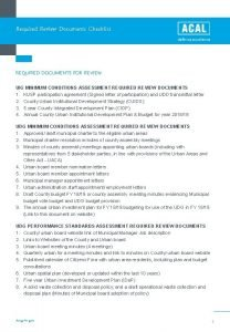 Required Review Documents Checklist REQUIRED DOCUMENTS FOR REVIEW