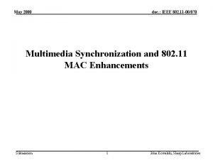 May 2000 doc IEEE 802 11 00070 Multimedia