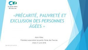 PRCARIT PAUVRET ET EXCLUSION DES PERSONNES GES Alain