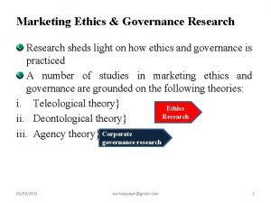 Marketing Ethics Governance Research sheds light on how
