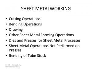 SHEET METALWORKING Cutting Operations Bending Operations Drawing Other