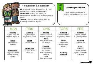 4 november8 november Norsk Kunne skrive ord med