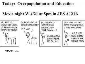 Today Overpopulation and Education Movie night W 421